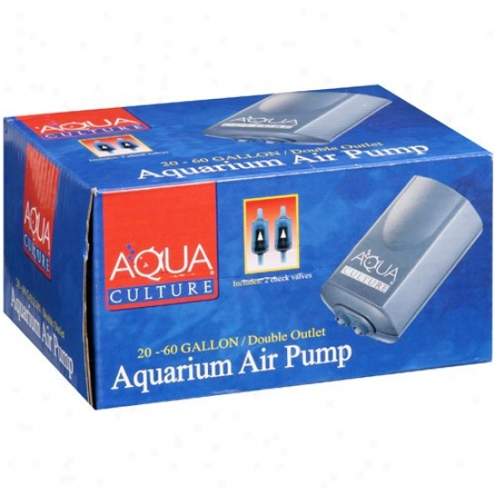 Aqua Cluture: 20-60 Gallon, Double Outlet Aquarium Air Pump, 1 Ct
