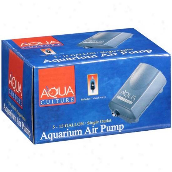 Aqua Culture: 5 -15 Gallon, Single Outlet Aquarium Air Pump, 1 Ct