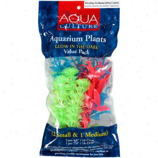 Aqua Culture Aquarium Glow In The Dark Plants, 3pk
