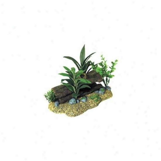Blue Ribbon Pet Products Ablee1098 Resin Ornament - Log Cavern With Plants