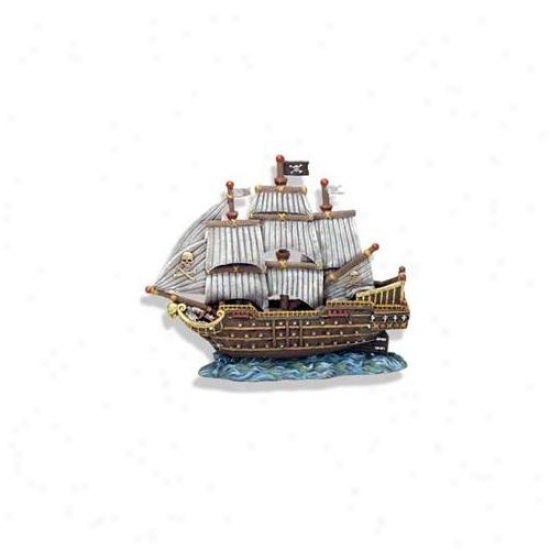 Blue Ribbon Pet Products Ablee1523 Resin Ornament - Skull And Crossbones War Ship