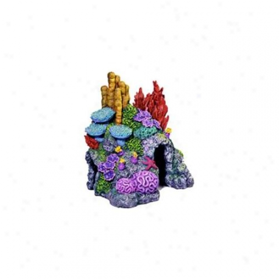 Azure Ribbon Pet Products Ablee410 Resin Ornament - Red Sea Coral Hideaway X-small