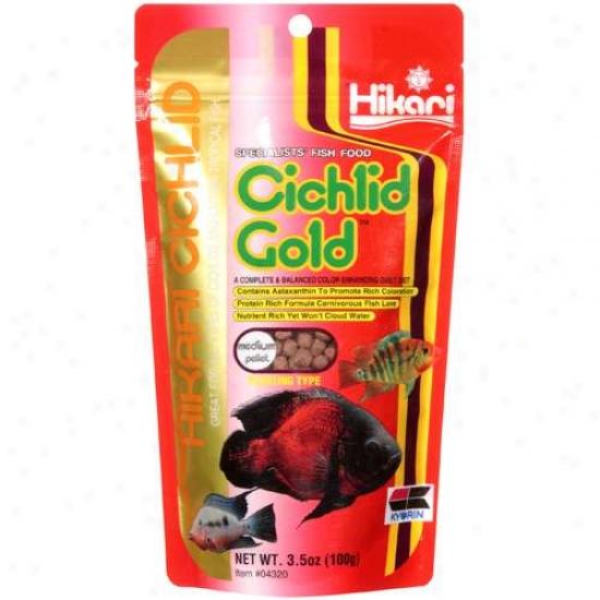 Hikari Cichlid:M edium Pellet Cichlid Gold Specialists' Fish Aliment, 3.5 Oz