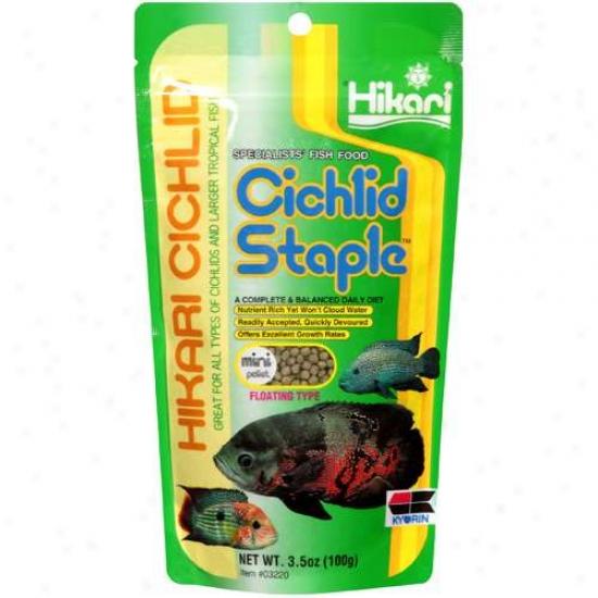 Hikari Cichlid: Mini Pellet Fkoating Type Cichlid Staple Spevialists' Angle Food, 3.5 Oz