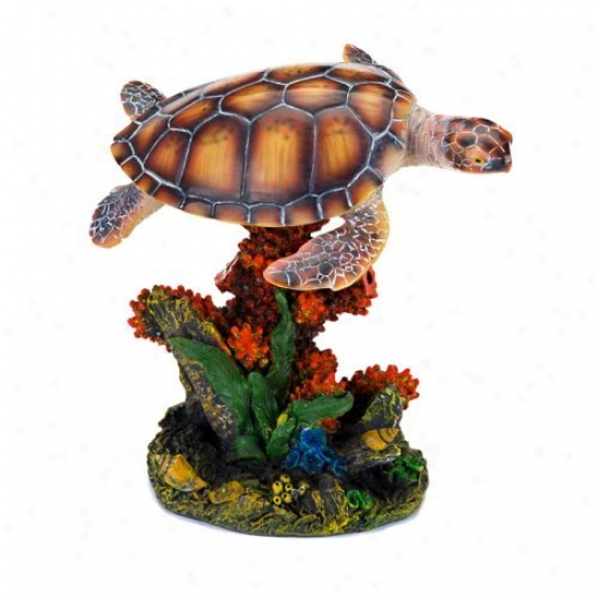Penn Plax 7.25 In. Sea Turtle Anr Coral Aquarium Decor