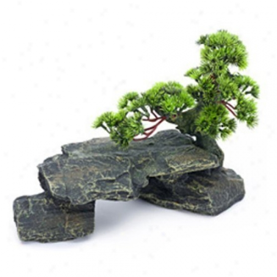Penn Plax Bonsai Tree On Rocks Aquarium Decor - Style 1