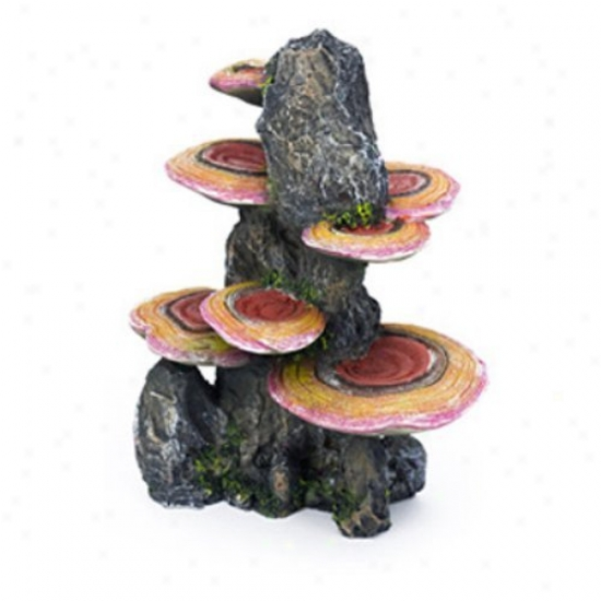 Penn Plax Pink Mushrooms On Rock Aquqrium Decor - Middle