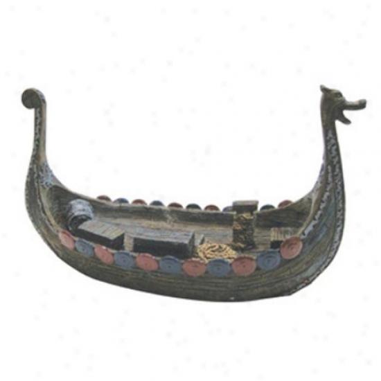 Penn Plax Resin Ornament Viking Ship - Small