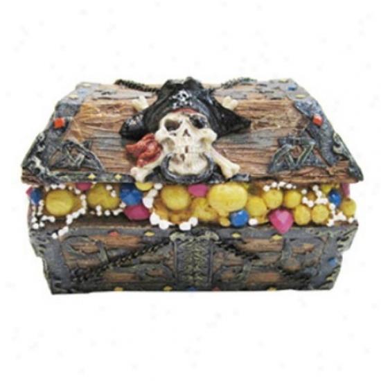 Penn Plax Resin Skull And Cross Treasure Chest - Large