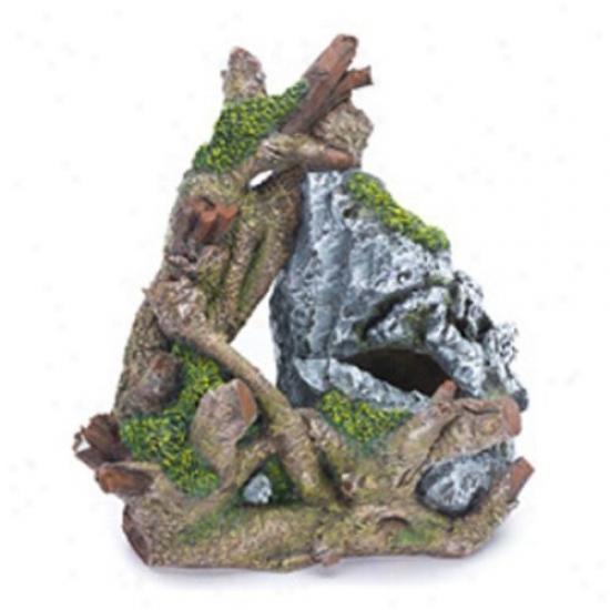 Penn Plax Rock And Tree Trunk Aquarium Decor