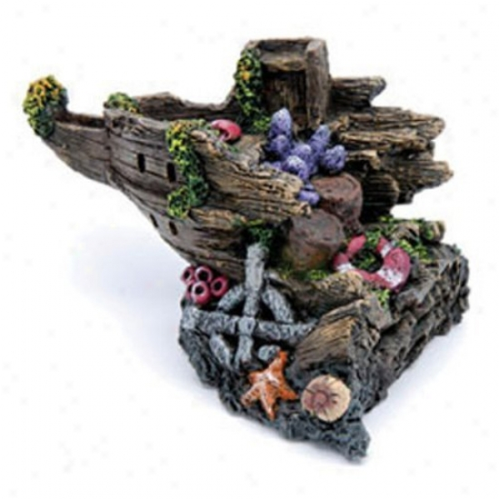 Penn Plax Split Shipwreck Stern Aquarium Decor - Medium
