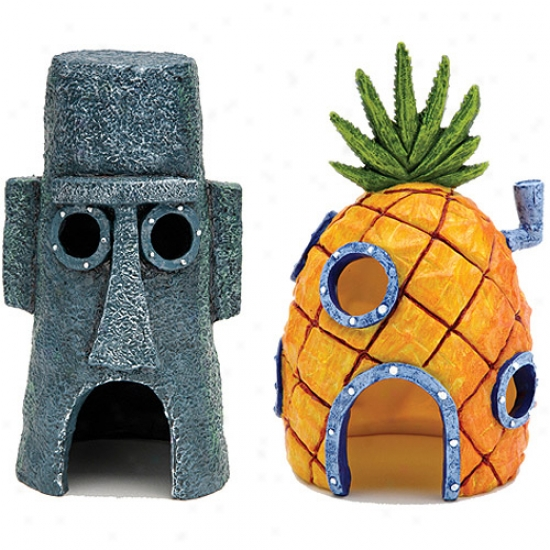 Penn Plax Spongebob Homes Assorted Aquarium Decoration