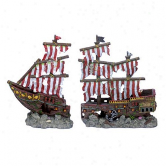 Penn Plax Striped Sail Shipwreck - Large