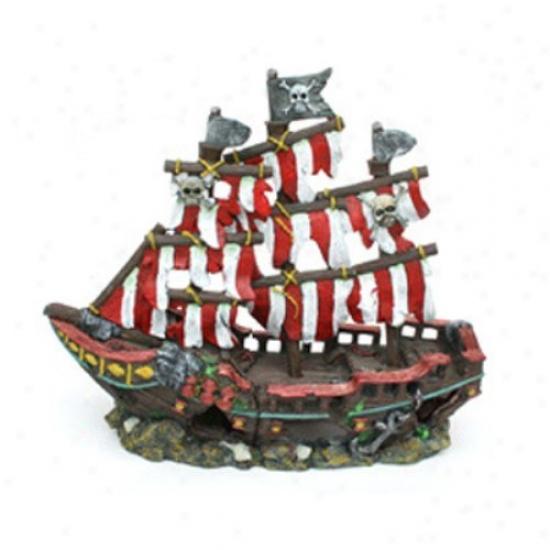 Penn Plax Stripee Sail Shipwreck - Middle