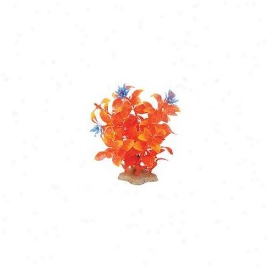 Pure Aquatic Natural Elements Flaming Ludwigia Aquarium Ornament In Orange