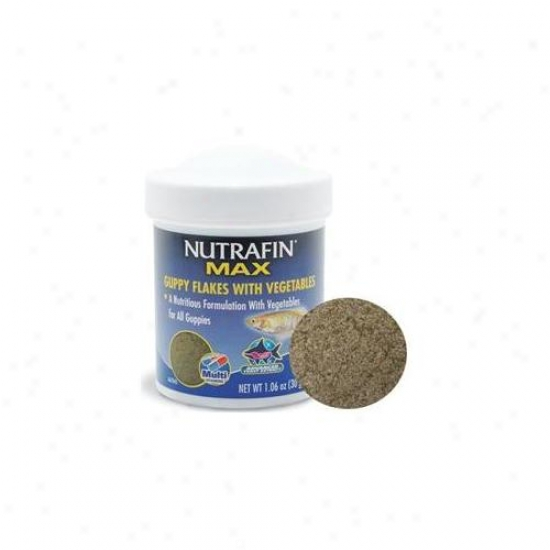 Rc Hagen A6784 Nutrafin Max Guppy Vegetable Flakes 1. 06 Oz