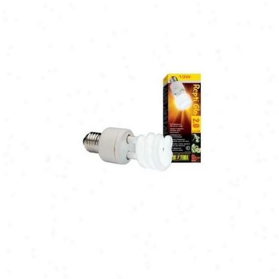 Rc Hagen Pt2190 Exo Terra Repti-glo 2. 0, Full Spectrum Terrarium Lamp, Compact Fluorescent, 13w