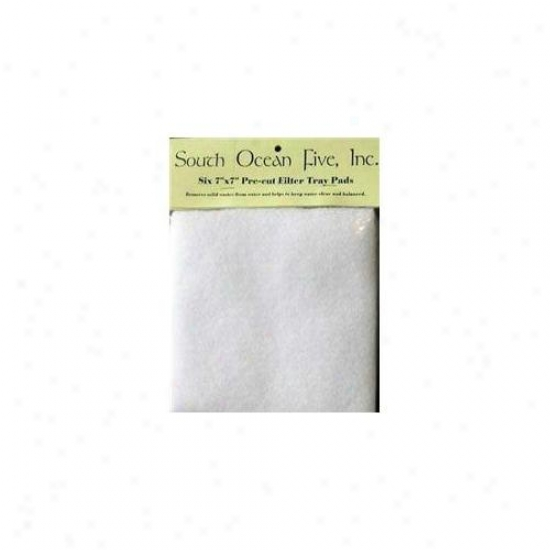 South Ocean Five Aoof10119 Precut Felt Filter Tray Pad 7 X 7 Inch 6 Pack
