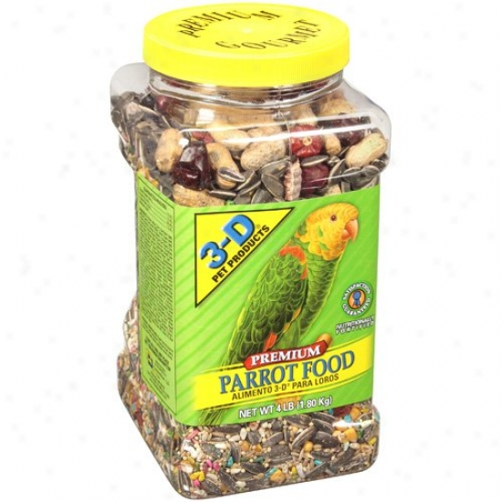 3-d Pet Products Premium Parrot Food, 4 Lb