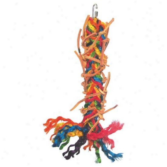 A&e Cage Co. Braided Leather Strands And Sisal Rope Fowl Toy