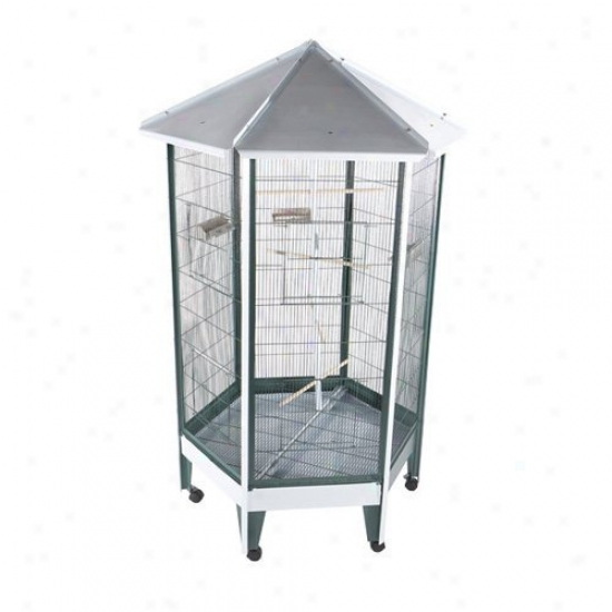 A&e Cage Co. Pitched Roof Hexagon Aviary