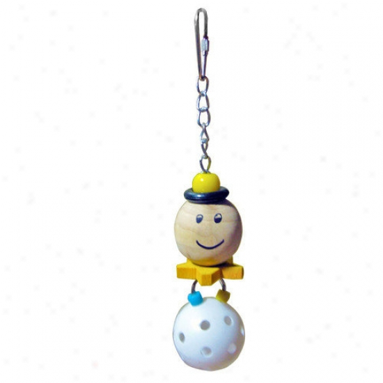 A&e Cage Co. Small Happy Face With Hanging Whiffle Balll Bird Toy