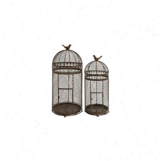 Benzara 63182 Set fO 2 Black Metal Round Parakeet Birds Cages 30 Inch