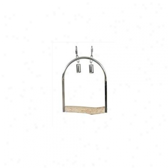 Caitec 315 8 Inch Medium Stainless Steel Swing With Natural Wood Perch