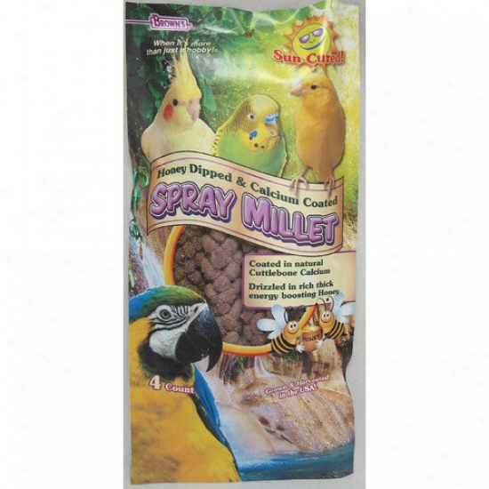 F.m. Browns Wildbird Extreme Honey Calcium Millet Spray Treat Conducive to Pet Fowl In Purple - 4 Oz.