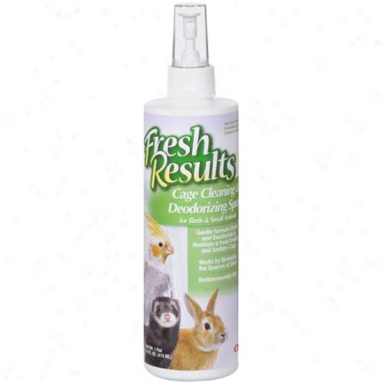 Fresh Results: For Birds & Feeble Animals Cage Cleaning & Deodorizing Spray, 16 Fl Oz