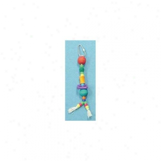 North Ameriican Pet Bbo22160 Rope With Spool- Plastic And Wood Beads Toy For Birds