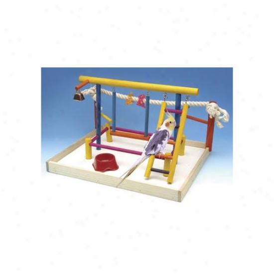 Penn Plax Extra Large Wooden Playground Bird Activity Centeer