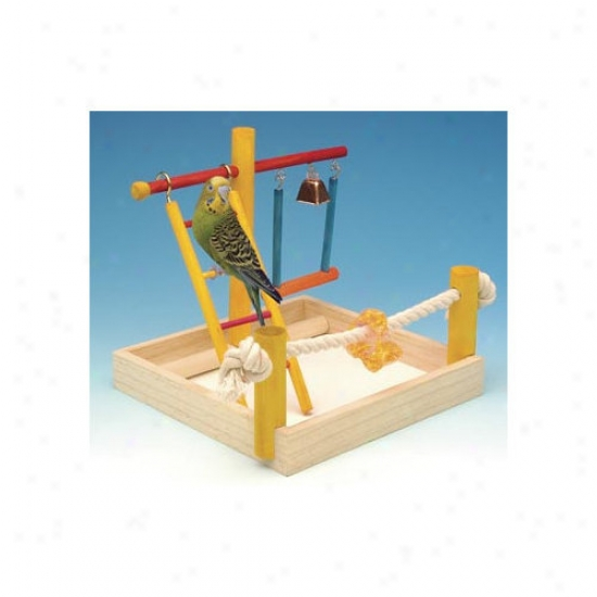 Penn Plax Small Wooden Playground Bird Activity Center