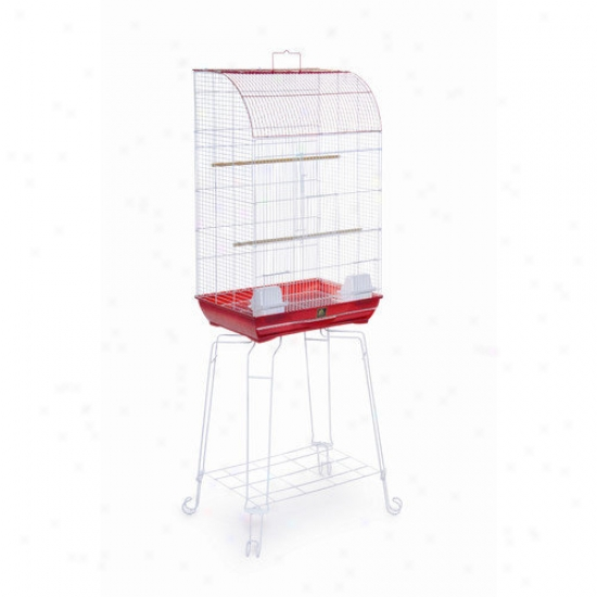 Prevue Hendryx Curved Front Bird Cage In Red / White