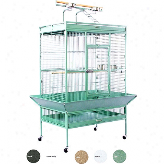 Prevue Hendryx Pp-3154w Select Wrought Iron Play To0 Parrot Cage - Pewter