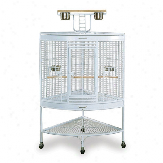 Prevue Hendryx Smalp Corner Bird Cage In White
