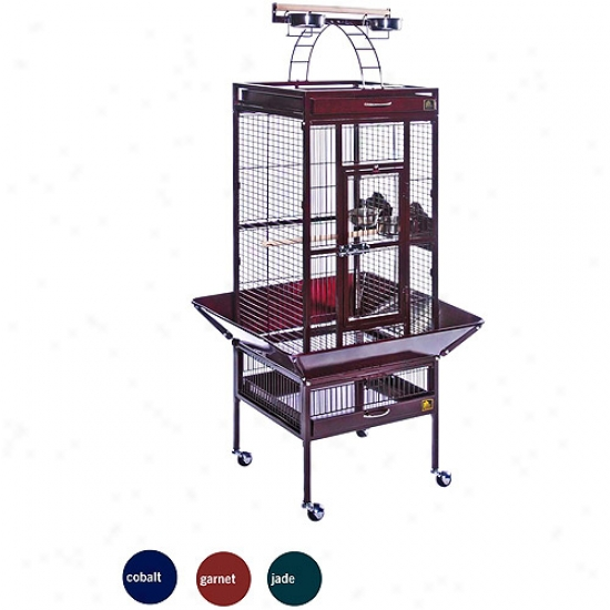 "Prevue Select Wrought Iron Cockateil Bird Cage 18&suot;x18x56"", Collr: Jade Green"