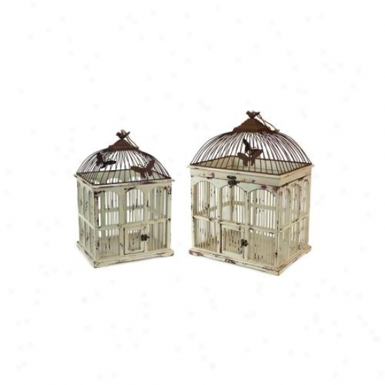 "Set Of 2 Cream /rust Wood & Metal Decorative Accent Bird Cages 20.5"" - 24"""