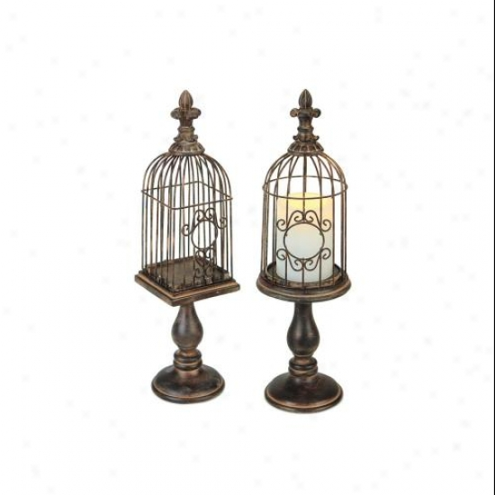 Set Of 2 Ornate Rust-finished Finial Birdcage Pillar Candle Holders 17""