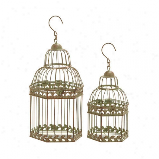 Woodland Imports Floral Pattern Bird Cage