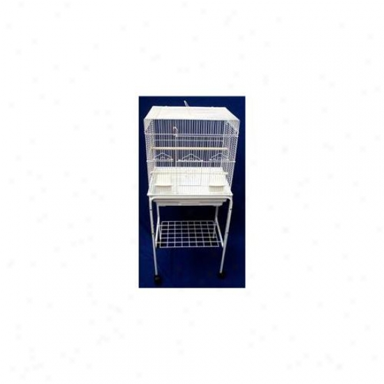 Yml 5824-4814wht Square Top Small Bird Cage With Stand In White