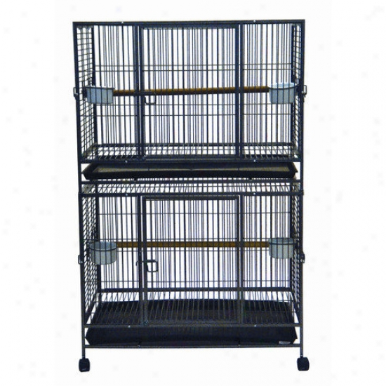 Yml Trifle Top Wrought Iron Double Bird Cage In Antique Silver
