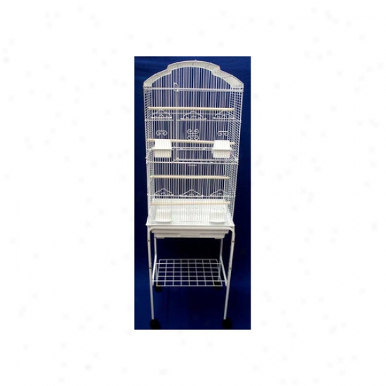 Yml Shall Top Small Bird Cage Through  Stand In White