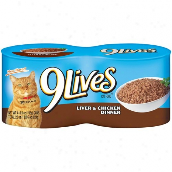 9 Lives Cat Food, Liver And Chicken, 4pk, 5.5 Oz Per Be able to