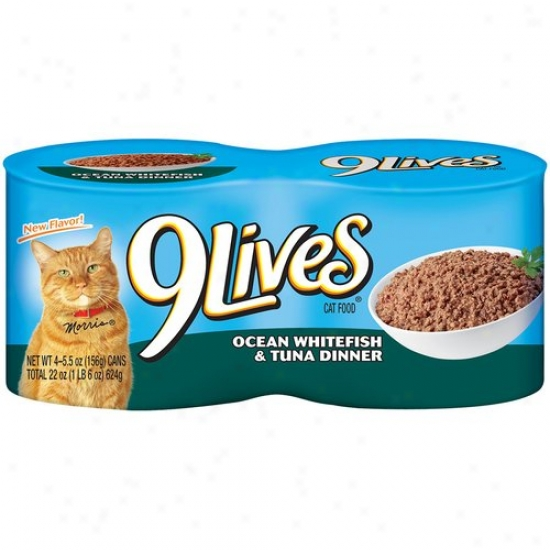 9 Lives Cat Food, Ocean White Fish And Tuna, 4pk, 5.5 Oz Per Can