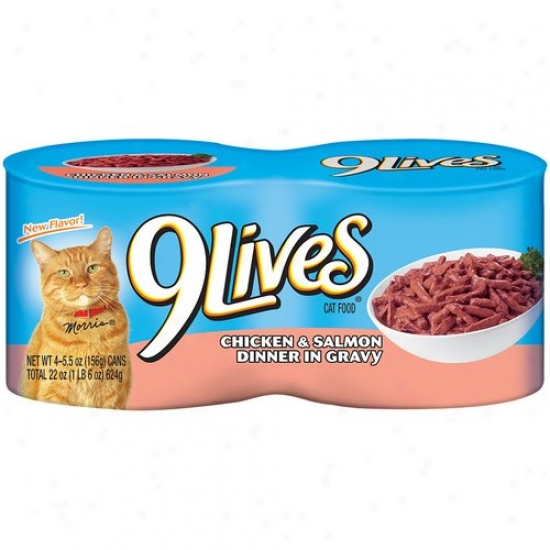 9 Lives Cat Food, Savory Cicken, 4pk, 5.5 Oz By Can