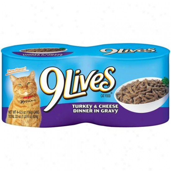 9 Lives Cat Food, Turkey And Cheese, 4pk, 5.5 Oz Per Can