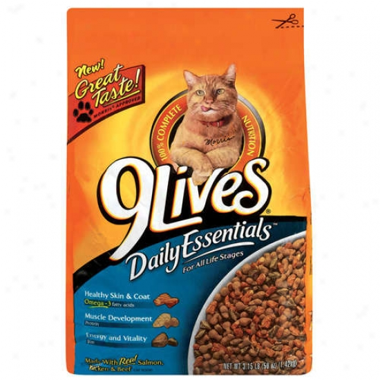 9 Lives: Daily Essentials W/real Salmon Chicken & Beef Cat Food, 3.15 Lb