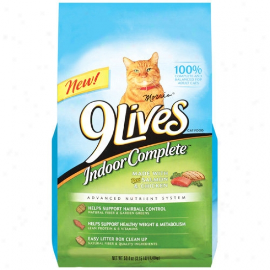 9 Lives Indoor Complete Cat Food With Real Salmon & Chicken, 50.4 Oz