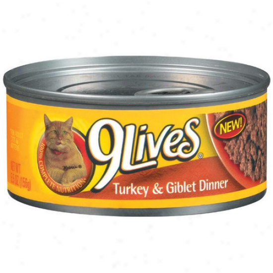 9 Lives Turkey And Giblets Dinner Cat Food (5.5-oz, Case Of 24)